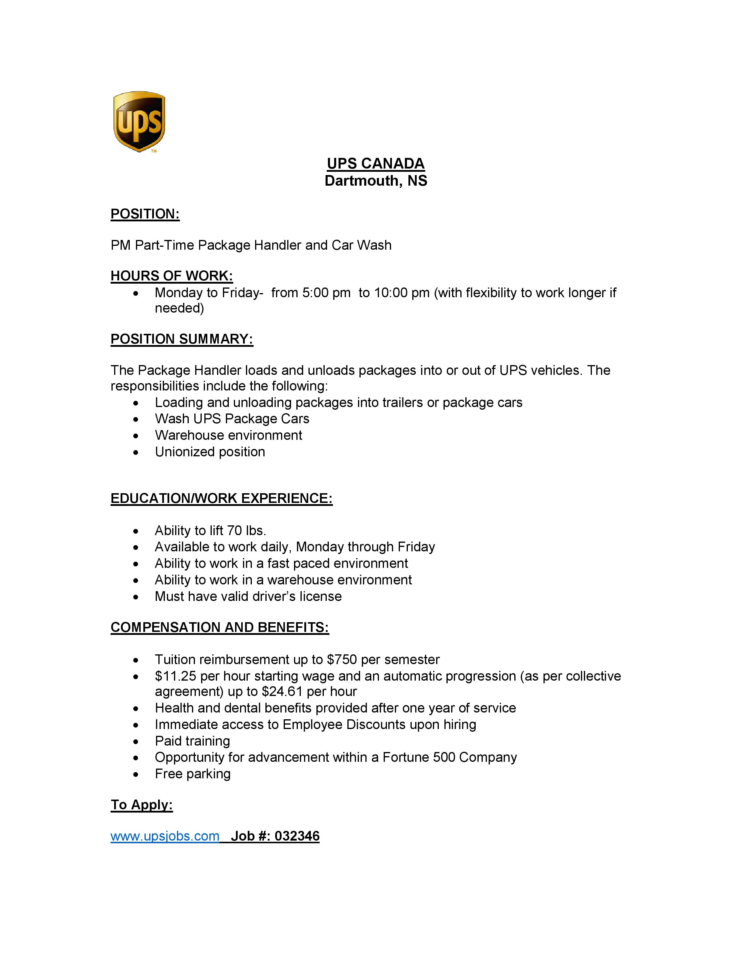 Ups Canada Dartmouth Part Time Package Handler And Car Wash