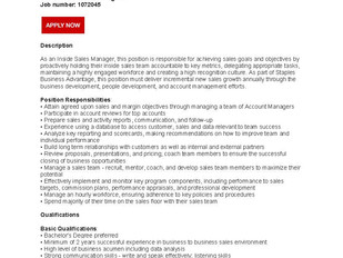 Staples-Quill Contact Centre - Inside Sales Manager