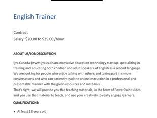 Ijya Canada - English Trainer