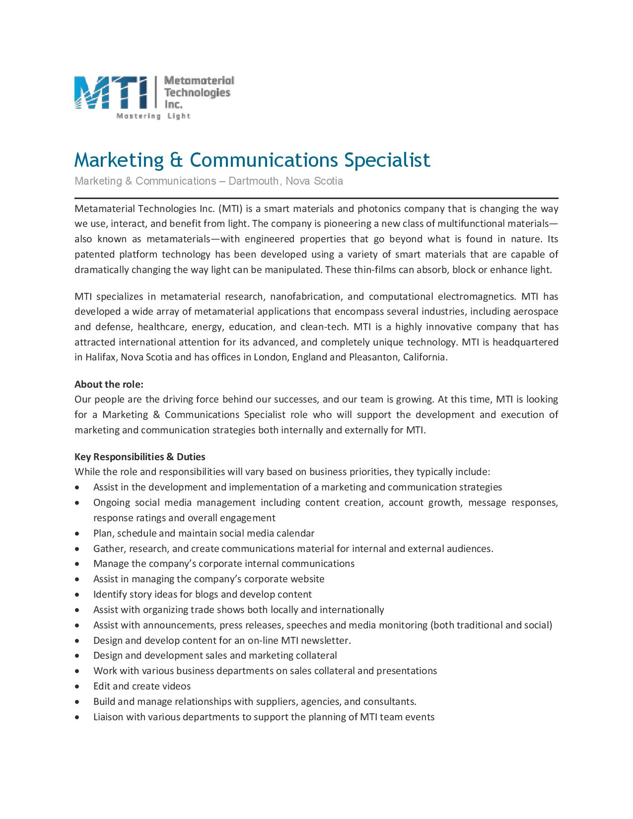 MTI - Marketing & Communications Specialist | Opportunity Place