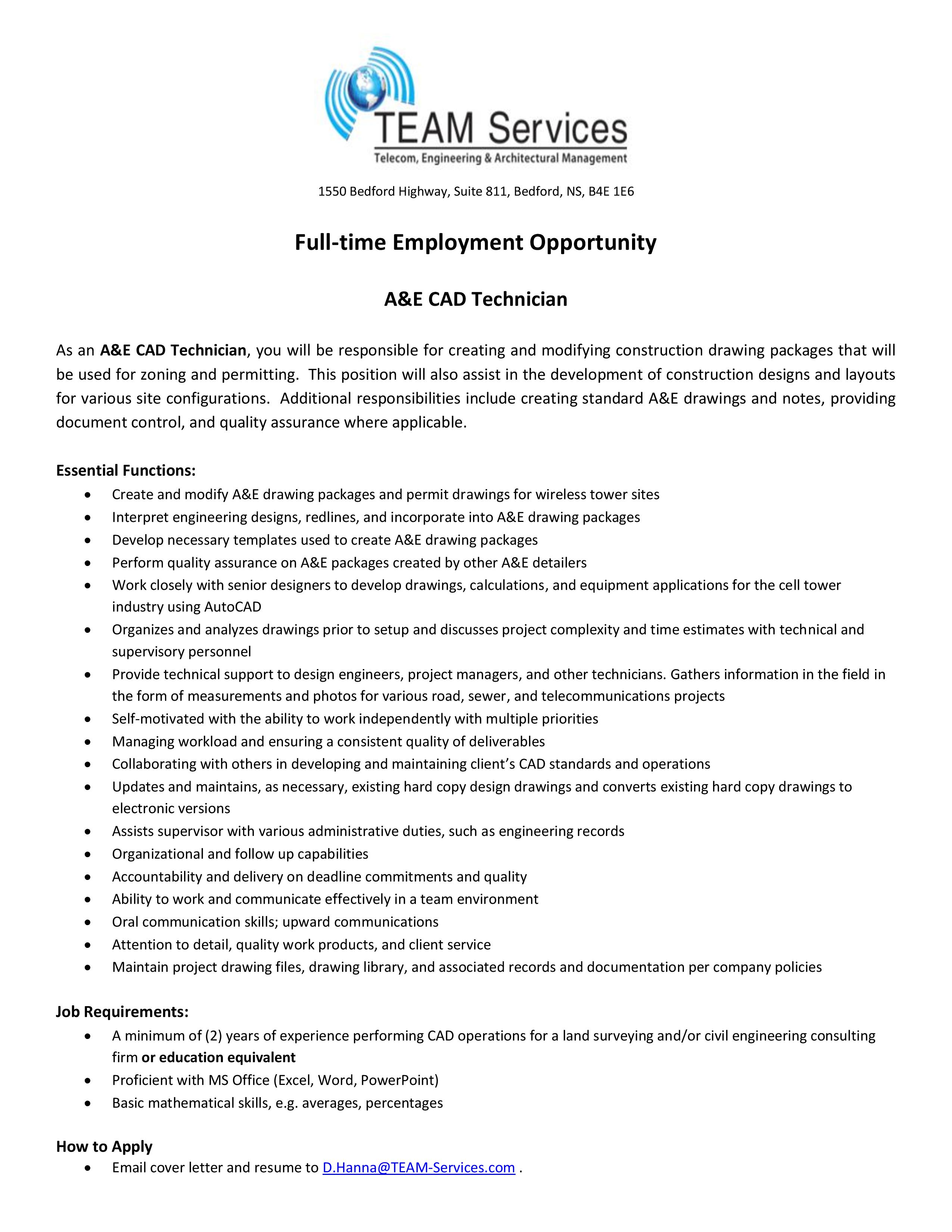 TEAM Services - A&E CAD Technician | Opportunity Place