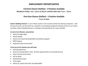 Eastern Building Cleaners - Multiple Positions