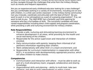 Halifax & Region Military Family Resource Centre - Before School Program Staff