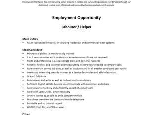 Rockingham Hardware – Labourer/Helper