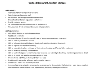 Wilson's - Fast Food Restaurant Assistant Manager