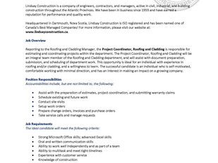 Lindsay Construction - Project Coordinator, Roofing and Cladding