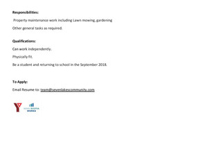 Seven Lakes Community - Summer Student Position