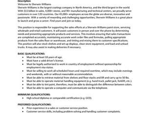 Sherwin-Williams – Sales Associate