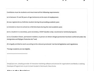 SimplyCast - Developer/Programmer (Student Job)