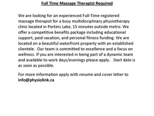 PhysioLink Porters Lake - Full-Time Massage Therapist