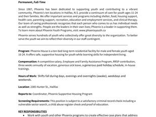 Phoenix - Key Worker, Phoenix Supportive Housing Program