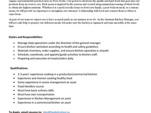 Food Intuition - Full Time Assistant Kitchen Manager