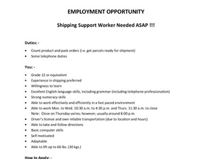Stephen Health Agency - Shipping Support Worker
