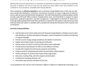 Efficiency One - Efficiency Specialist, Business Energy Rebates