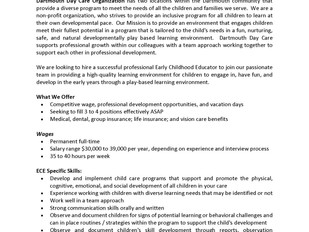 Dartmouth Day Care Centre – Early Childhood Educator (ECE)
