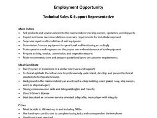 Jastram Technologies Ltd – Technical Sales and Support Representative