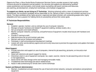 Nova Scotia Works - Opportunity Place - IT Technician