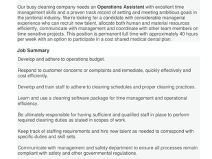 A+ Quality Cleaners Inc. - Operations Assistant