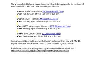 Halifax Transit Employment Information Sessions