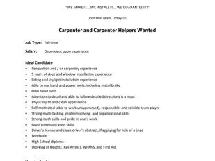 Nova Doors and Windows - Carpenter and Carpenter Helpers