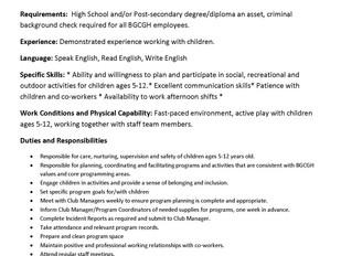 Boys & Girls Clubs of Greater Halifax – Full-Time After School Program Leader (Sackville)