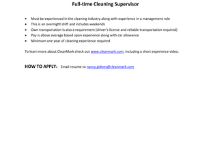 CleanMark - Cleaning Supervisor (FT)