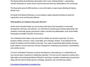 Spring Garden Area Business Association - Executive Director