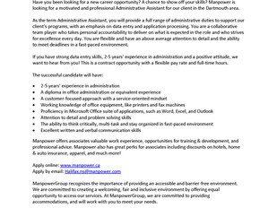Manpower – Administrative Assistant