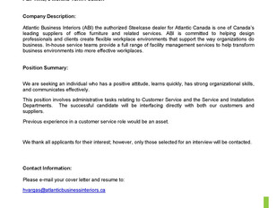 Atlantic Business Interiors - Customer Service Representative (Term)