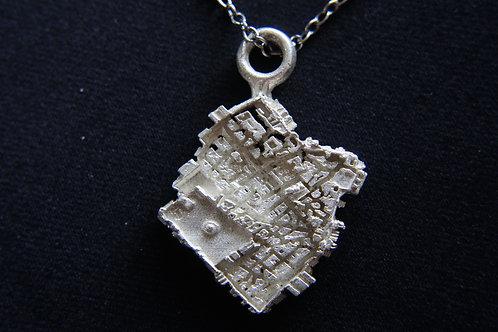 Jerusalem Small City Silver Necklace Judiaca