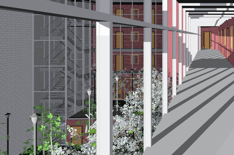 Architecture Hotel Courtyard View