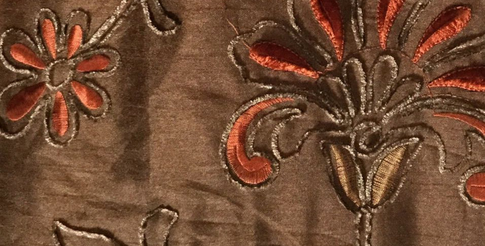 Chocolate Brown with Rust Embroidered flowers