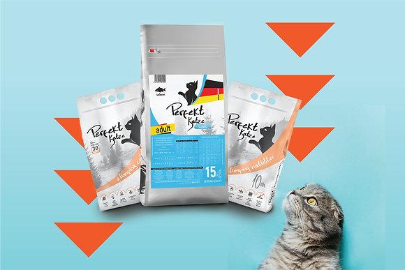 Perfekt Katze Somonlu Yetişkin Kedi Maması 15 kg ve Kedi Kumu 20 lt