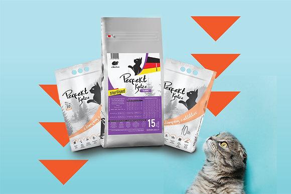 Perfekt Katze Tavuklu Kısır Kedi Maması 15 kg ve Kedi Kumu 20 lt