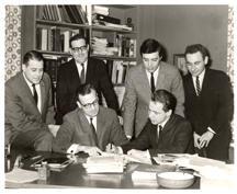 Mercury Records signing L-R Sales Kenneth Myers, Nat'l Promo; Morris Diamond, V.P; Irwin Steinberg; John, Dave White, Aram Bornazian (MWB Prods.)  1963