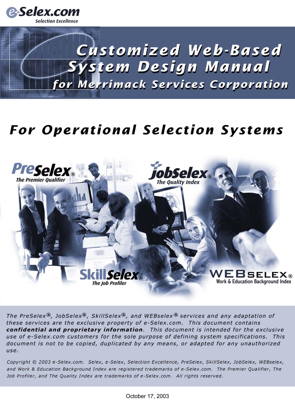 Customized Design Manual - Operational S