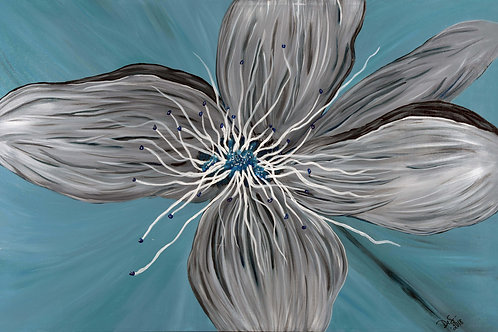 floral, flower, blue, home decor, fine art, gallery, realism,