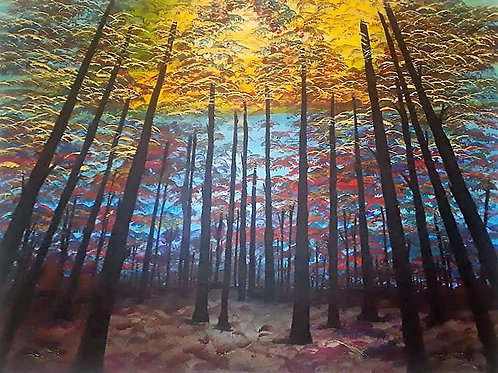 DWarm, Holiday, Realism, Gallery forest, fall, acrylic painting, fine arts, canvas, landscapes, seasonal, fall, bright colors