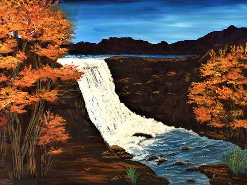 Fine Art, Acrylic, Seascape, Decor, Waterfall, Landscape, water,  autumn, fall,