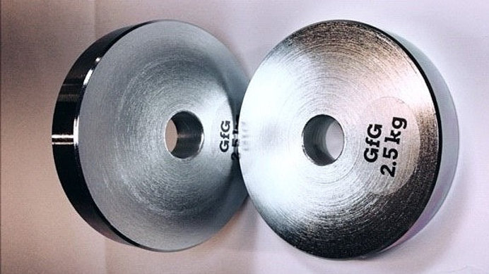 """2 x 2.5KG 1"""" Plated Steel Weight Plates"""