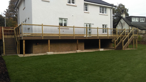 Recently completed raised deck works.