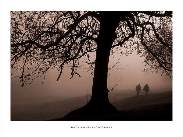 A walk in winter 16x12 sepia border 2000