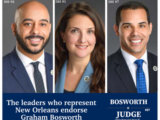 GRAHAM BOSWORTH ENDORSED BY NEW ORLEANS STATE REPRESENTATIVES