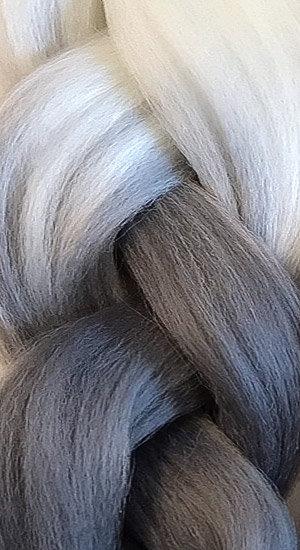 «Jambo silk braid» OMBRE White/ graphite