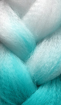 «Jambo silk braid» OMBRE White / turquoise