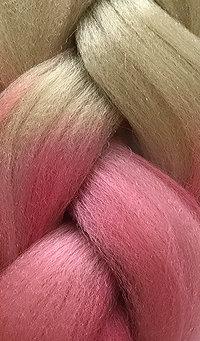 «Jambo silk braid» Ombre blonde / pink rose