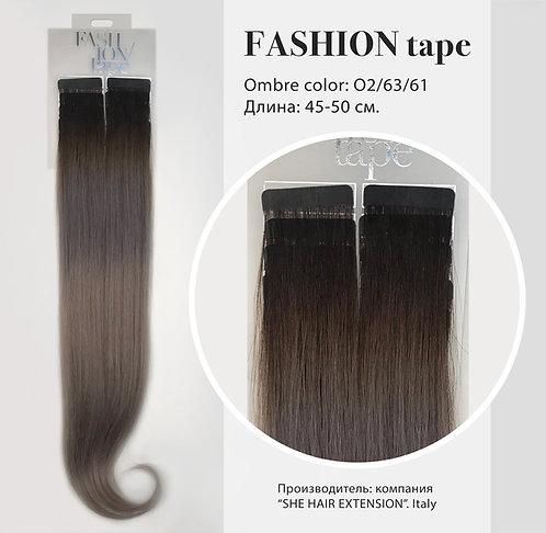 Пряди «Fashion tape» на полимерной ленте Ombre effect № O 2/63/61