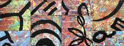 """FLOWER PATCHWORK - 9""""x24"""" Acrylic/W"""