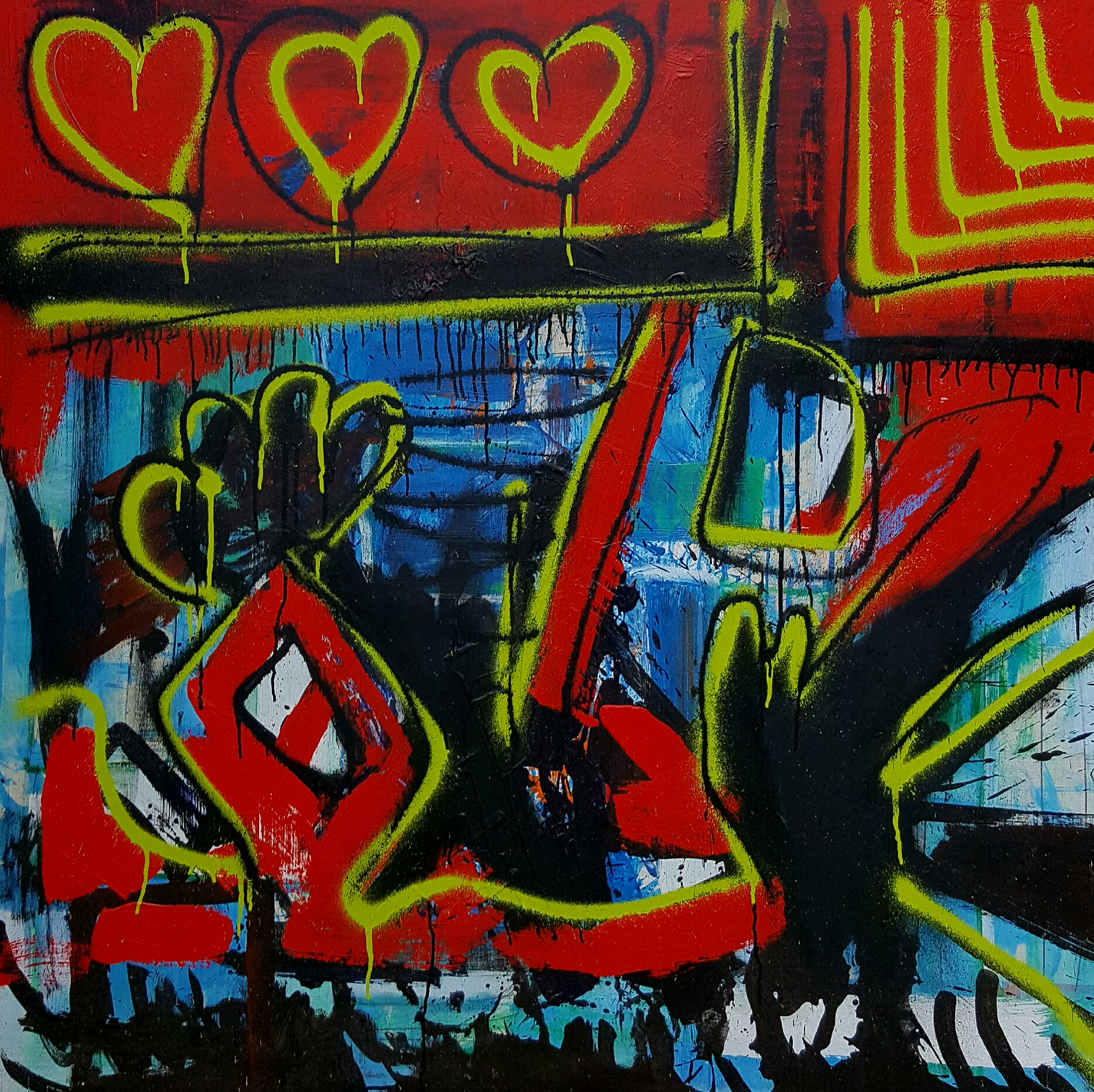 "LOVE ENERGY - 48""x48"" Acrylic / Wood"