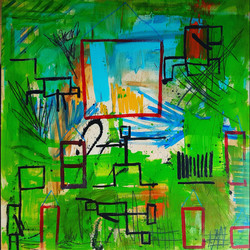 """SHELTER OF LOVE  48""""x48"""" Acrylic/W"""